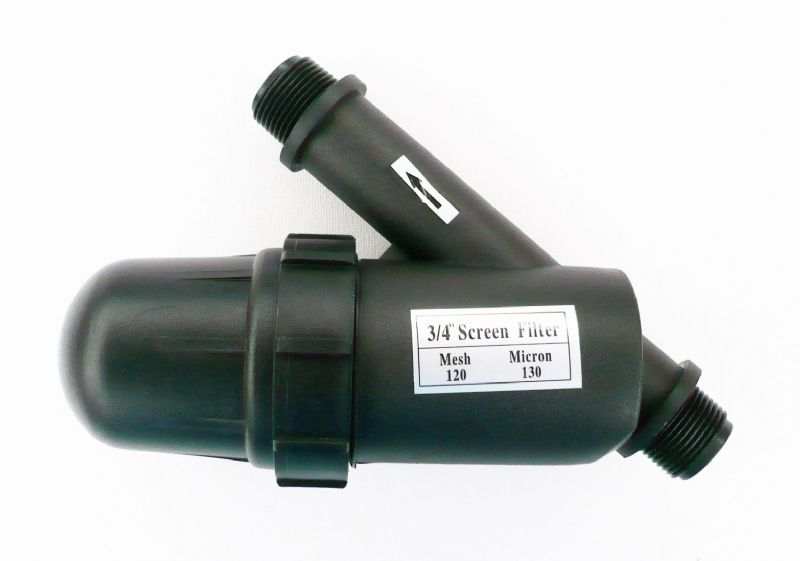 "In-Line Bottle Type Water Filter. 120 Mesh. 130 Micron. 3/4"" BSP male threads"